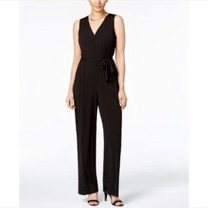 NY Collection Surplice Jumpsuit Size Small Black